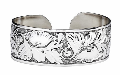 "JT Inman Sterling Large Flower Cuff Bracelet 7/8"" Wide"