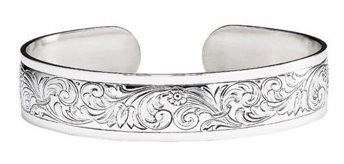 """JT Inman Sterling Scroll Thin Cuff Bracelet 1/2"""" Wide"""
