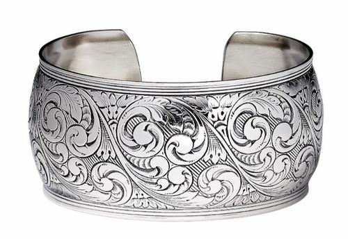 """JT Inman Sterling Scroll Wide Cuff Bracelet 1 3/4"""" Wide"""