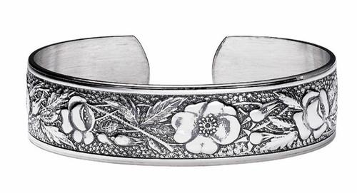 """JT Inman Sterling Wild Rose Cuff Bracelet 1/2"""" Wide"""