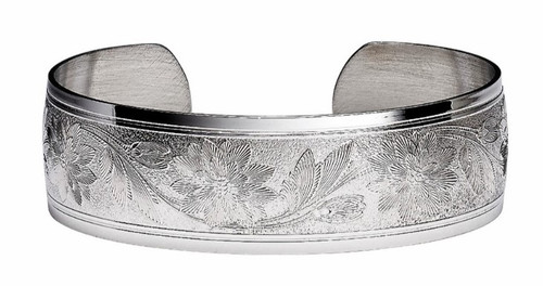 """JT Inman Sterling Wild Flower Cuff Bracelet 3/4"""" Wide"""