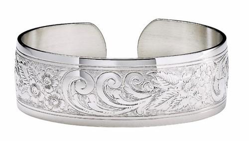 """JT Inman Sterling Scroll Cuff Bracelet 3/4"""" Wide"""