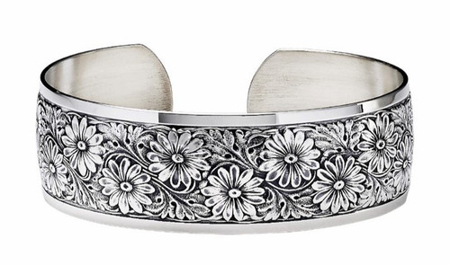 """JT Inman Sterling Daisy Cuff Bracelet 3/4"""" Wide"""
