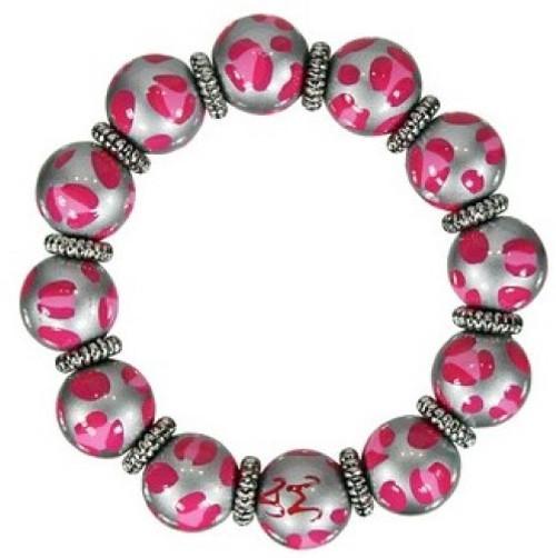 Angela Moore Leopard Life Pink Classic Beaded Bracelet