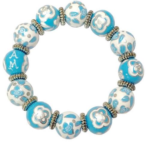 Angela Moore Blue Belle Silver Classic Beaded Bracelet
