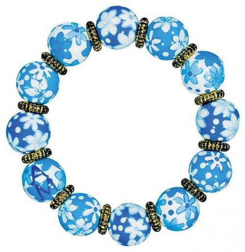 Angela Moore Cool Capri Blue Classic Beaded Bracelet