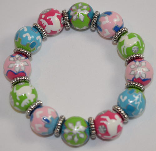 Angela Moore Christmas Swiss Chalet Edelweiss Classic Beaded Bracelet