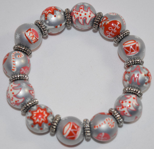 Angela Moore Christmas Drummer Girl Classic Beaded Bracelet