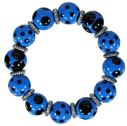 Angela Moore Drama Dots Blue Black Classic Beaded Bracelet