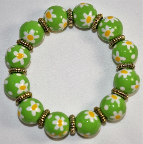 Angela Moore Daisy Daisy Green Classic Beaded Bracelet