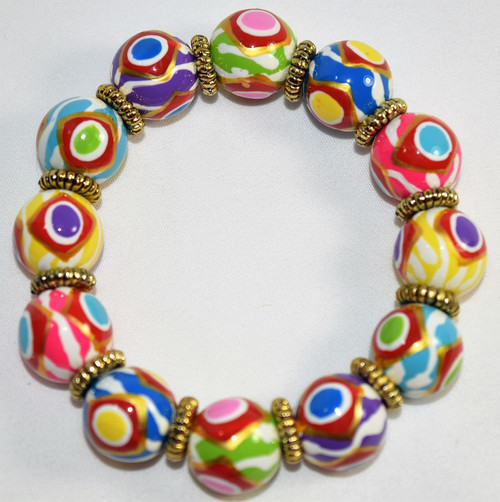 Angela Moore Color Dots Multi Classic Beaded Bracelet