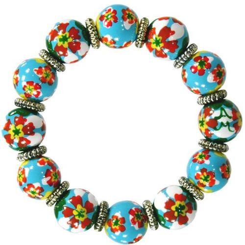 Angela Moore Red Poppy Fields Classic Beaded Bracelet