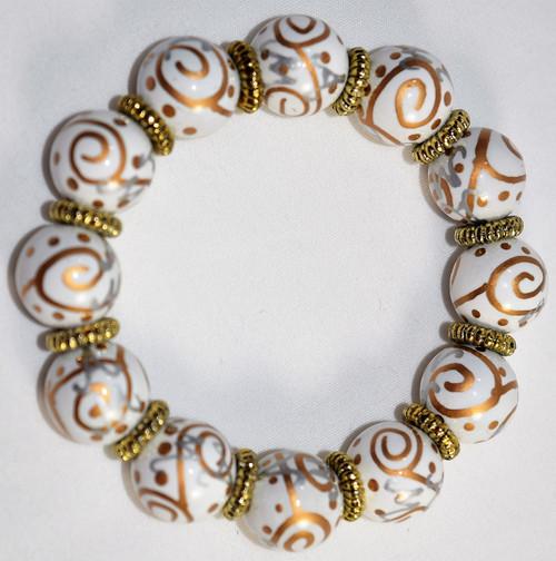 Angela Moore Solar Swirl Gold Silver Classic Beaded Bracelet