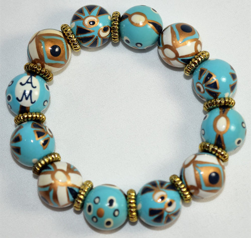 Angela Moore That's Amore Blue Gold Classic Beaded Bracelet