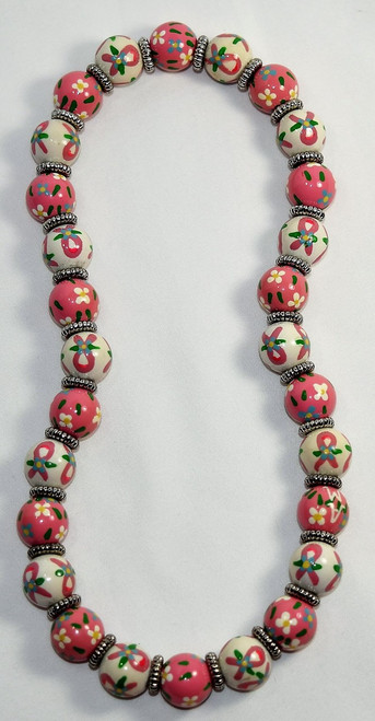 Angela Moore Breast Cancer Awareness Pink Ribbon Classic Beaded Necklace