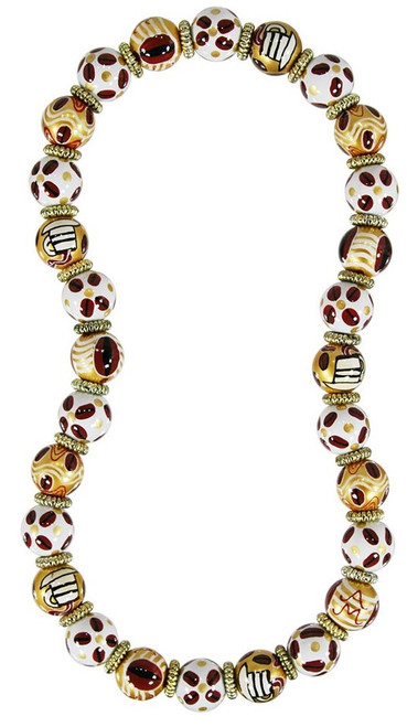 Angela Moore Coffee Nut Classic Beaded Necklace