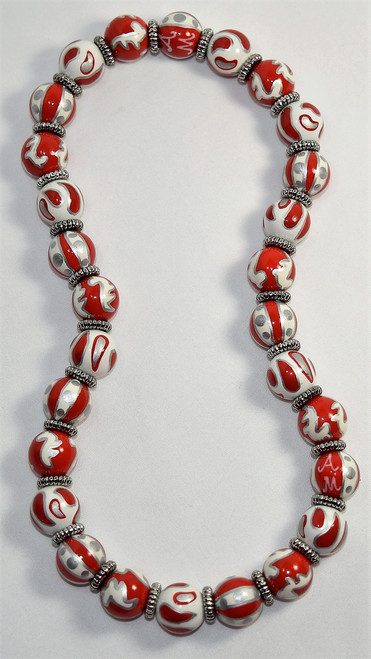 Angela Moore Crimson Crush Orange Silver Classic Beaded Necklace