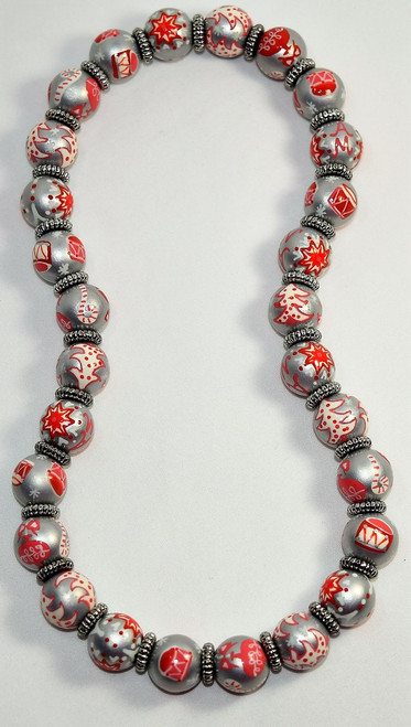 Angela Moore Christmas Drummer Girl Classic Beaded Necklace