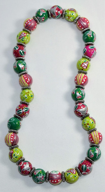 Angela Moore Christmas Silver Bells Classic Beaded Necklace