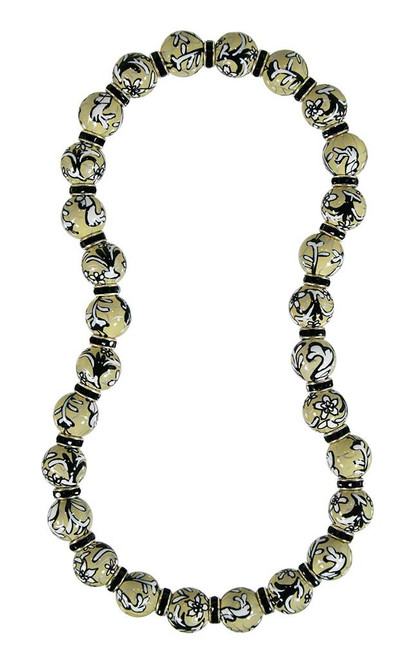 Angela Moore Amazing Lace Black Beige Classic Beaded Necklace with Jet Swarovski Crystals