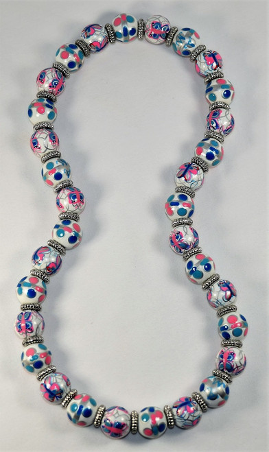 Angela Moore Flutter Girl Butterfly Relaxed Fit Beaded Necklace