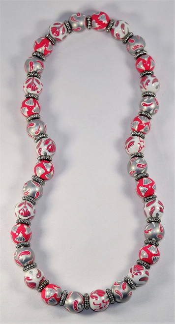 Angela Moore French Lace Pink Silver Relaxed Fit Beaded Necklace
