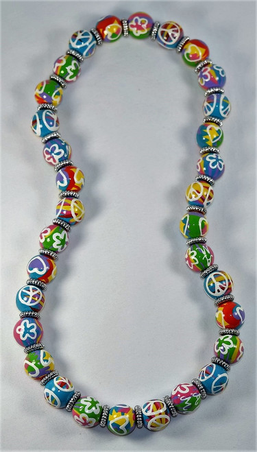 Angela Moore Love Your Life Peace Love Relaxed Fit Beaded Necklace