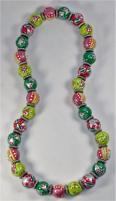 Angela Moore Christmas Silver Bells Relaxed Fit Beaded Necklace