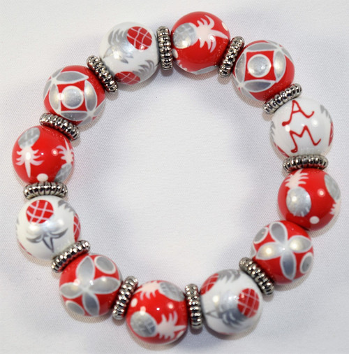 Angela Moore Pineapple Patch Red Silver White Classic Beaded Bracelet