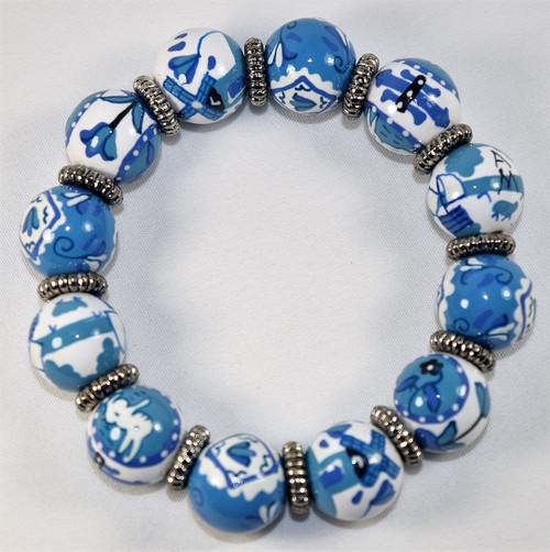 Angela Moore Delft Blue White Classic Beaded Bracelet