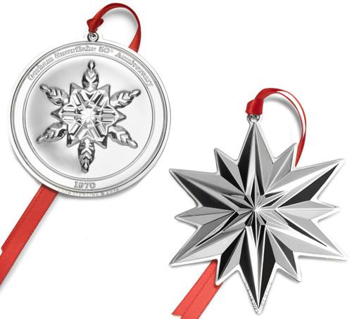Gorham 2pc 50th Anniversary Sterling Snowflake Ornament Set 2019