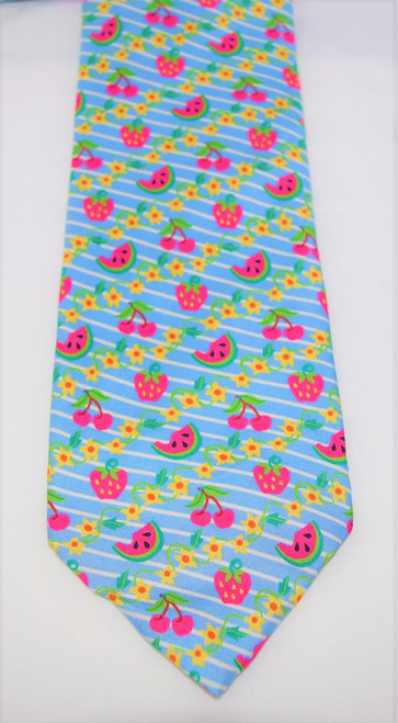 Angela Moore Fresh Fruit Blue Mens Silk Neck Tie