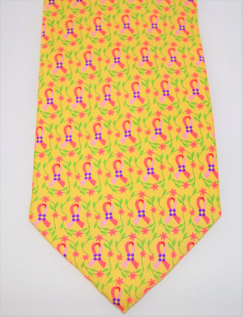 Angela Moore Pink Ribbon Breast Cancer Awareness Yellow Mens Silk Neck Tie