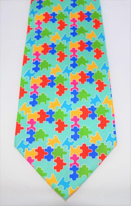 Angela Moore Autism Awareness Puzzle Mint Mens Silk Neck Tie