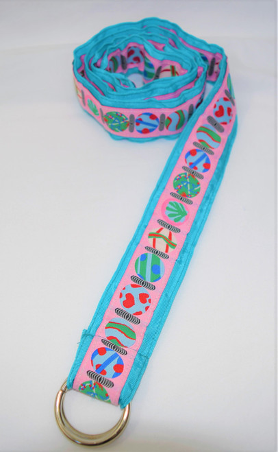 Angela Moore Hearts Turquoise Blue Ribbon Belt Size Medium
