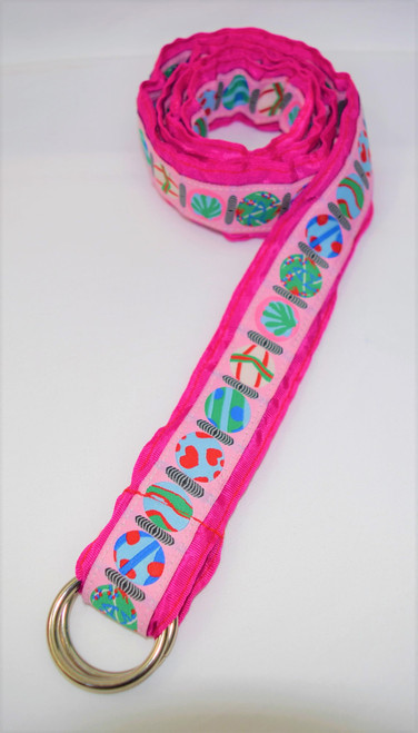 Angela Moore Hearts Fuchsia Pink Ribbon Belt Size Large