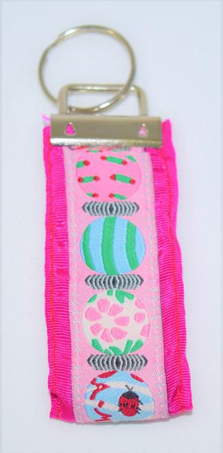 Angela Moore Ladybug Fuchsia Pink Ribbon Key Ring