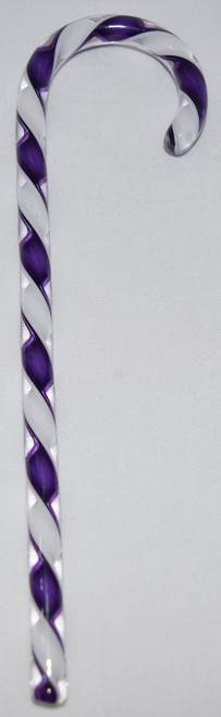 Tazza Candy Cane Ornament - Purple and White