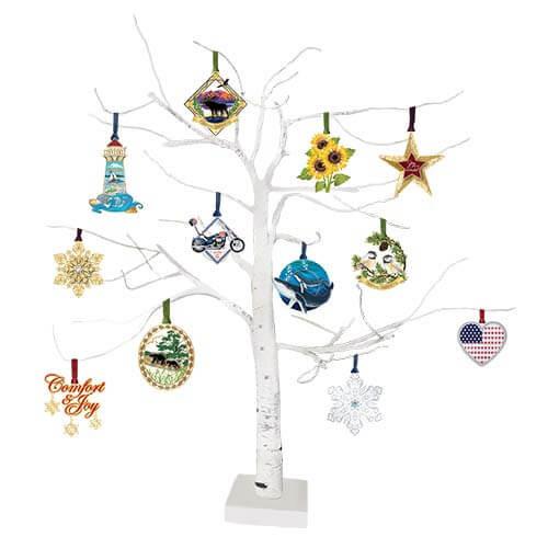 Beacon Lighted Birch Tree Ornament Display