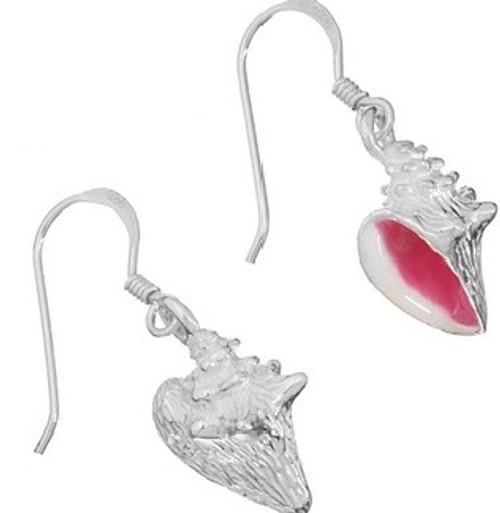 Oceano Jewelry Conch with Pink Enamel Wire Earrings