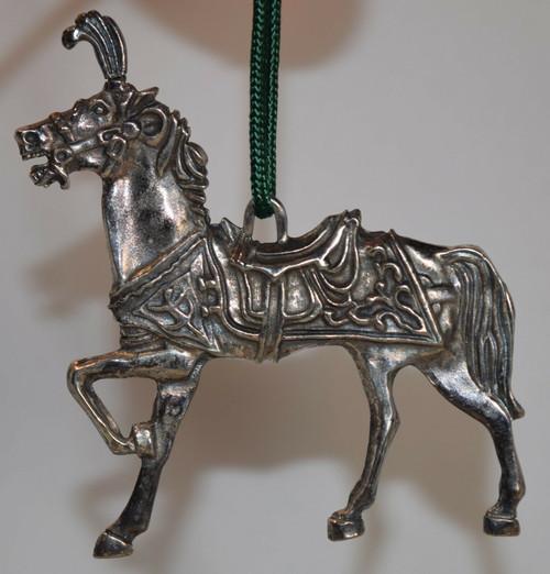 Reed & Barton Silver Plate Carousel Horse Ornament 1989
