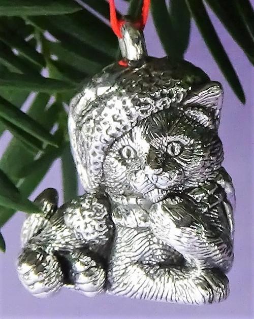 Cat of Mine Thinker Kitten in Santa Hat Ornament