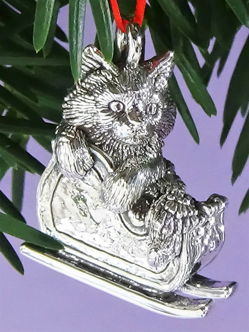 Cat of Mine Maine Coon Kitten in Sleigh Ornament