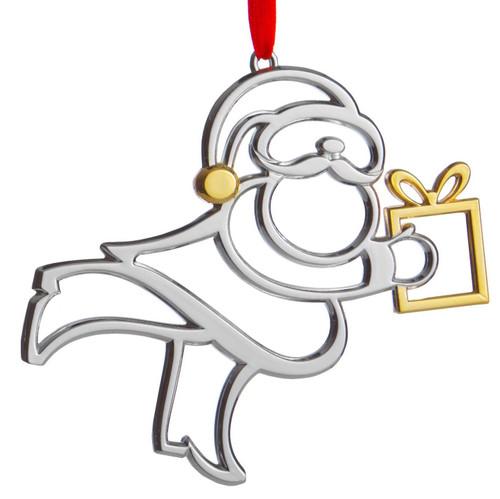 Nambe Santa with Present Ornament