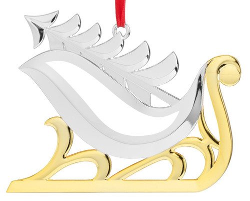 Nambe Sleigh with Christmas Tree Ornament