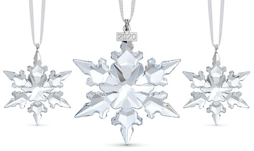 Swarovski Annual Snowflake Set of 3 Ornaments 2020