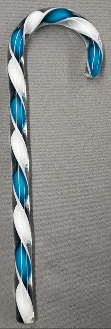 Tazza Candy Cane Ornament - Tiffany Blue and White