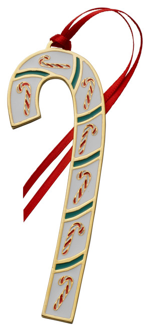 Wallace Annual Candy Cane Ornament 2021 - Gold Plate and Enamel