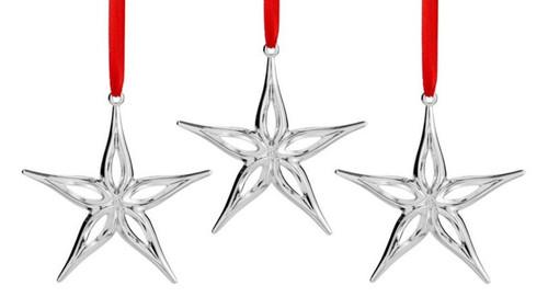 Nambe Mini Star Set of 3 Ornaments