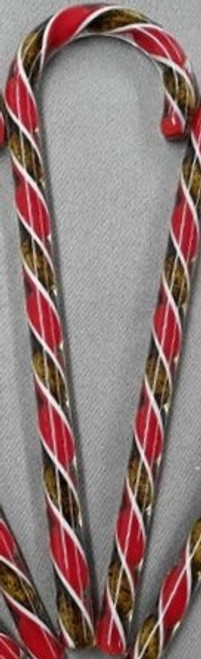 Tazza Candy Cane Ornament - Red & Gold